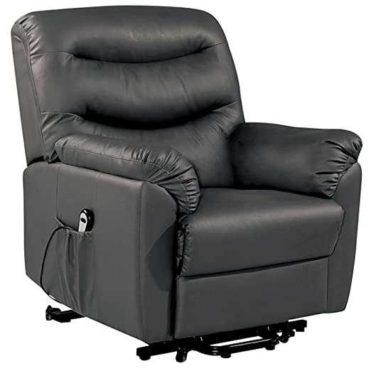 Birlea Regency Rise & Recline Chair Black Leather FREE DELIVERY
