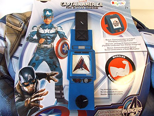 Captain America Blue Grey Marvel Avengers Muscle Child Costume Communicator 10-12 NIP