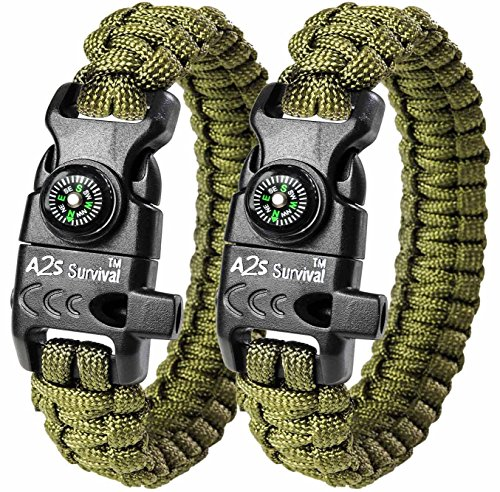 A2S Paracord Bracelet K2-Peak Series - Survival Gear Kit with Embedded Compass, Fire Starter, Emergency Knife & Whistle - Pack of 2 - Quick Release Slim Hiking Gear (Green / Green) (Kids Power Tools Car compare prices)