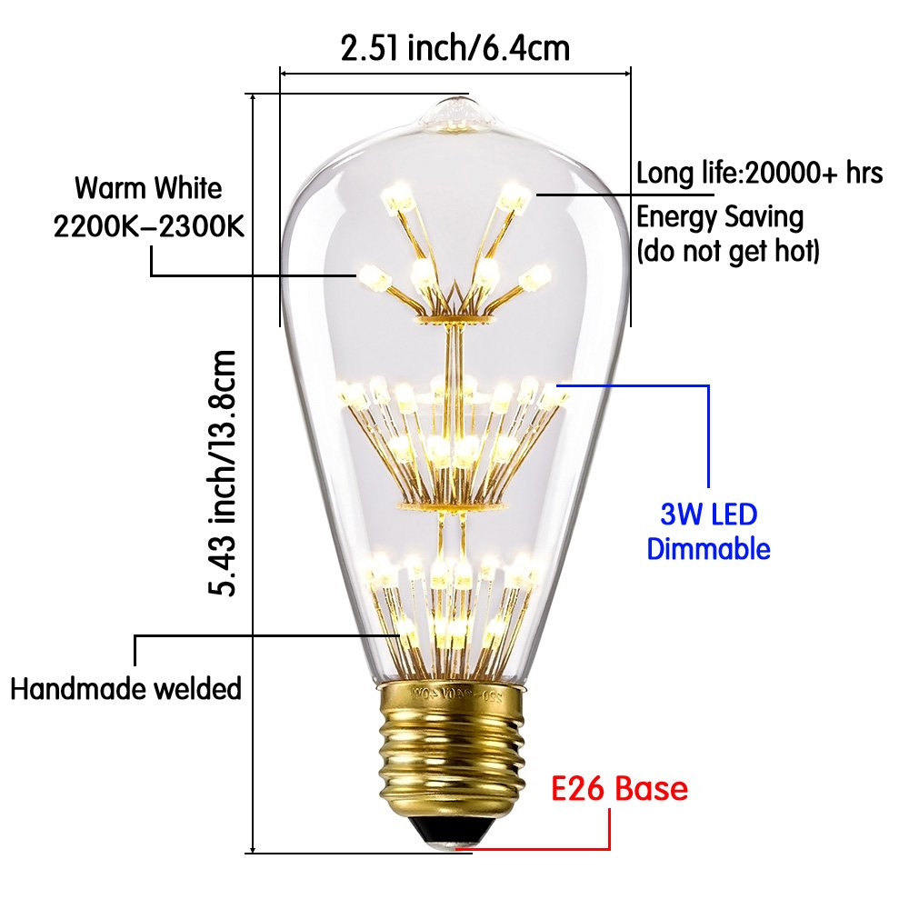 Kiven ST64 Vintage Edison Design A19 E26 2200K Warm White Retro Energy Save Beautiful and Romantic Starry Decorative 3W LED Light Bulbs for Holiday Christmas Indoor Party Antique 110V Not Dimmable 3