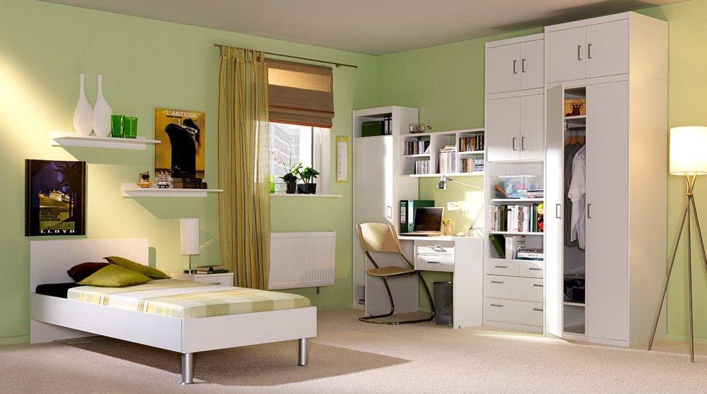 5-tlg. Jugendzimmer in weiß, Kleiderschrank mit Aufsatz B: 72 cm, Bett 90 x 200 cm Liegefläche, Schreibtisch B: ca. 106 cm, Nachtschrank B: ca. 38 cm