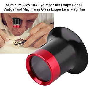 Salmue 10X Magnifier, Aluminum Alloy Eye Magnifier Loupe Repair Watch Tool Magnifying Glass Loupe Lens Small Lightweight Magnifying Glass Magnifier (Color: Default)