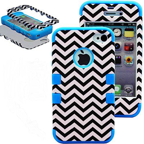Mylife Sky Blue - Chevron Series (3 Piece Protective) Hard And Soft Case For The Iphone 4/4S (4G) 4Th Generation Touch Phone (Fitted Front And Back Solid Cover Case + Internal Silicone Gel Rubberized Tough Armor Skin)