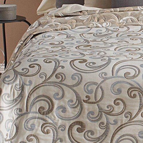 San Carlos Gilda - Colcha fantasía, doble tela, reversible, esquinas redondeadas, color crema