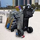 Super Wide Wheel Wonder Wheeler Beach Cart with Silver Mist Frame and Black Fabric (Black Fabric with Silver Mist Frame, External BodyBoard Pouch with Silver Mist Frame)