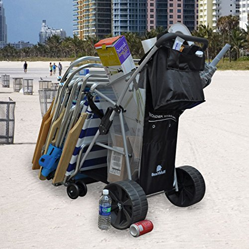 BeachMall Wonder Wheeler Beach Cart Wide Rear Wheels with Silver Mist Frame (Beach Wagon With Big Wheels compare prices)