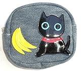 ポーチ かわいい 猫柄 レディース 高校生 化粧 小物入れ コスメ トラベル フルーツキャット 黒猫 バナナ
