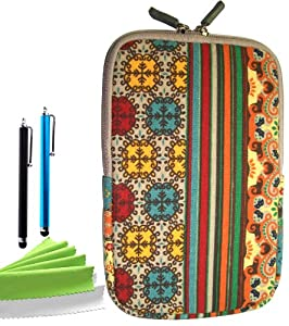 ColorYourLife Bundle of Bohemian Style Canvas Fabric Sleeve Case Bag Cover for Kindle Fire NOT for Kindle Fire HD7 with 2 Stylus Pens and Microfiber Cleaning Cloths (Colorful Bohemian pattern, 7 inch)