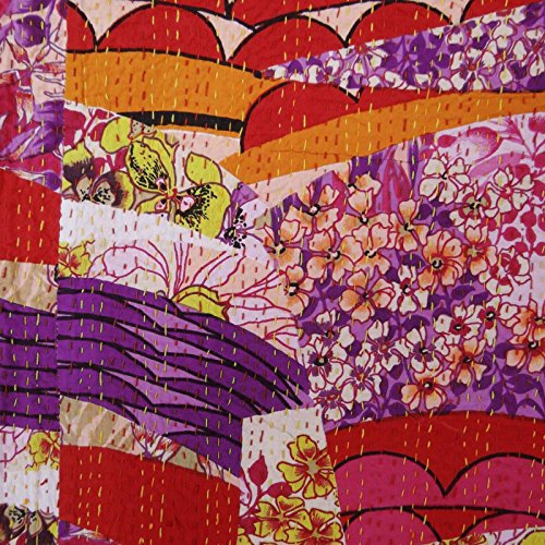 Modelo abstracto rosado gudri queen size kantha puntada 100% de cama de algodón se extendió 106