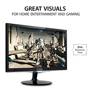 ViewSonic VX2252MH 22 Inch 2ms 60Hz 1080P Gaming Monitor with HDMI DVI and VGA inputs (Color: Black)