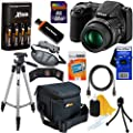 Nikon COOLPIX L820 16 MP CMOS Digital Camera with 30x Zoom Lens & HD Video - Black (Import) + 4 AA High Capacity Batteries with Quick Charger + 11pc Bundle 32GB Deluxe Accessory Kit w/ HeroFiber� Ultra Gentle Cleaning Cloth