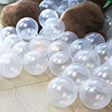 Wonder Space Soft Pit Balls, Chemical-Free Crush Proof Plastic Ocean Ball, Phthalate & BPA Free with No Smell, Safe for Toddler Ball Pit/Kiddie Pool/Indoor Baby Playpen, Pack of 100 (Transparent) (Color: Transparent)