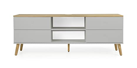 Tenzo Dot Designer TV Stand, Chipboard and MDF, Grey/Oak