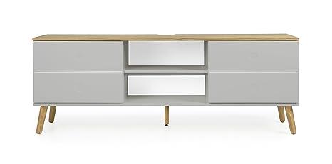 Tenzo Dot Designer TV Stand, Chipboard and MDF, Grey/Oak