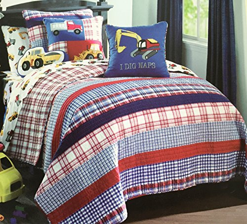 Max Studio Kids Twin Quilt and Sham Set Red Blue and White Plaid and Stripe Cotton