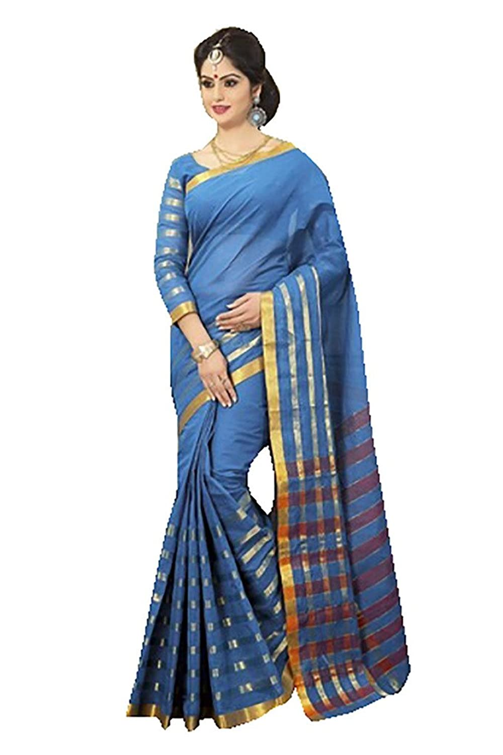 Ishin Cotton Blue Solid Saree available at Amazon for Rs.3249