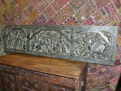Indonesian Teak: Lord Krishna Hindu God Carved Wood Headboard Indian ...