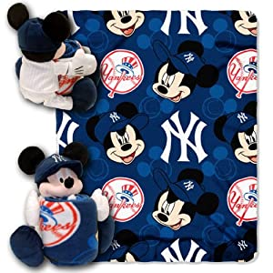 MLB New York Yankees Mickey Mouse Pillow with Fleece Throw Blanket Set by Northwest