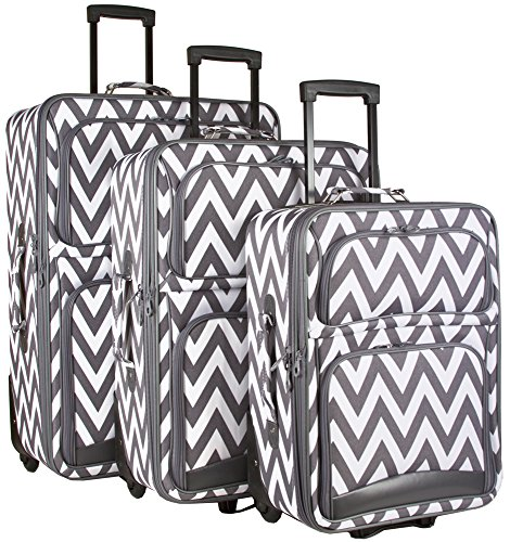 Ever Moda Grey Chevron 3 Piece Expandable Luggage Set