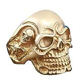 LTM 316L Stainless Steel Vintage Gothic Skull Bone Biker Ring golden (7)