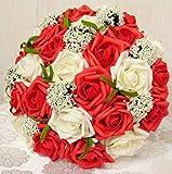 ウェディング ブーケ バラ 造花 ブライダル 結婚式 花束 フラワー かわいい 髪飾り セット 選べる カラー ピンク ブルー パープル レッド (ホワイト×レッド)