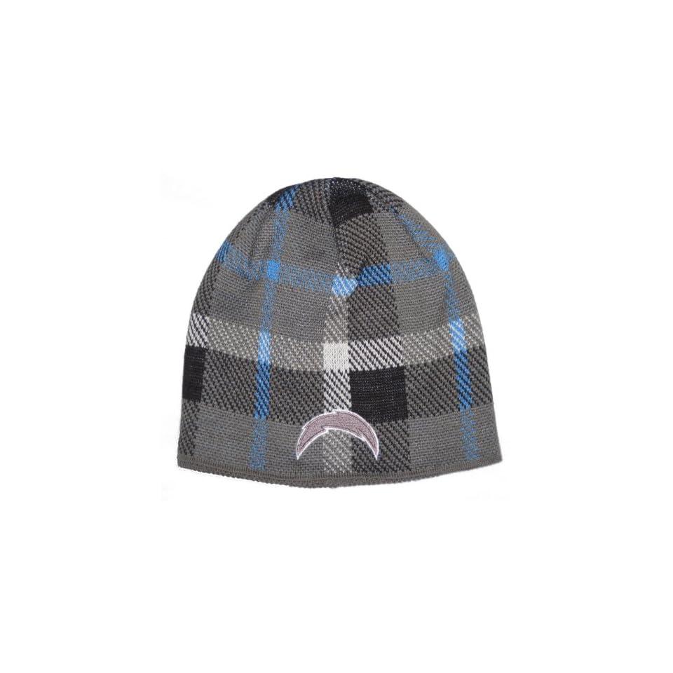 San Diego Chargers NFL Reebok Team Apparel Plaid Design Knit Beanie Hat