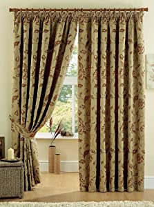 """REGENT GOLD 90"""" x 90"""" FLORAL FULLY LINED PENCIL PLEAT CURTAINS #YRUBYAM *CUR* by PCJ Supplies"""