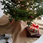 60 Burlap Tree Skirt Plain Natural Color Sewn-edge Christmas Tree Decor