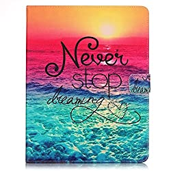 iPad 2/3/4 Case,Veggzy® [Never Stop Dreaming]Slim Fit Flip Folio PU Leather Wallet Stand Smart Protective Cover with Auto Sleep/Wake,Card Slots Pocket for Apple iPad 4(4th Generation),iPad 3 & iPad 2