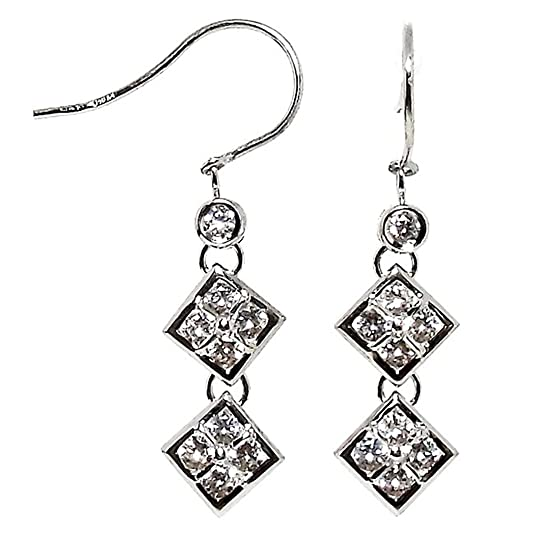 18k white gold earrings 18k hippie closing long zircons [378]