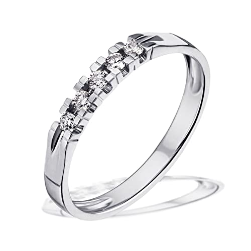 Goldmaid Women's Ring White Gold with 5 Diamonds 14ct