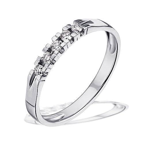 Goldmaid Women's Ring White Gold with 5 Diamonds 14ct