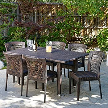 Dana Point 7-pc Outdoor Patio Brown Wicker Dining Set