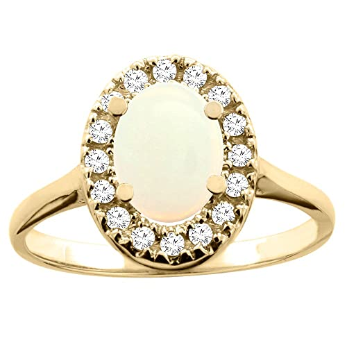 14ct Yellow Gold Natural Opal Ring Oval 8x6mm Diamond Accent 7/16 inch wide, size S