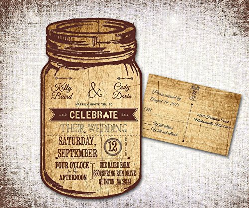 Mason Jar Wedding Invitations/ Rustic Wedding Invitations/ Country Wedding Invitations/ Western wedding invitations/personalized wedding invitations