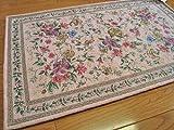 花模様 薄型 玄関マット 010 パステルピンク サイズ約60х90cm 屋内 室内 用 ゴブラン織シェニール