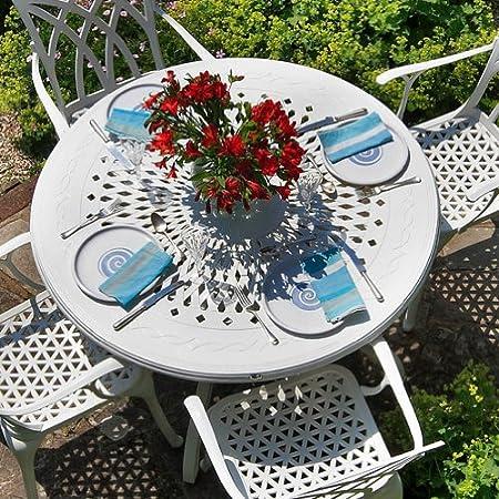 Weißes Amy 120cm Rundes Gartenmöbelset - 1 Weißer AMY Tisch + 4 Weiße APRIL Stuhle