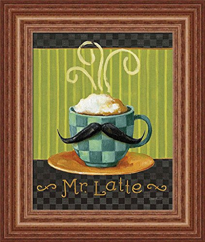Cafe Moustache Vi Lisa Audit Hipster Coffee Cup Sign Art Print Framed Picture Wall Décor Artwork