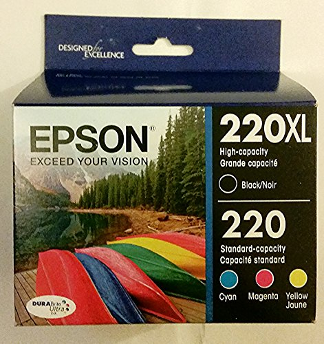 Epson DURABrite Ultra 220XL/220 High Yield Black and Standard Color Cyan Magenta Yellow Cartridge, (T220XL-BCS), Combo 4/Pack