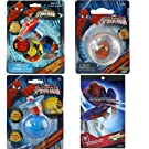 4-Piece Spider-Man Gift Set for Boys or Kids - 1 Spider-Man Spinning Top Set, 1 Super Charged Light Up Top with Power Launcher, 1 Spiderman High Bounce Ball Plus Superman Stickers