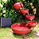 Cascading Solar Garden Fountain - Red