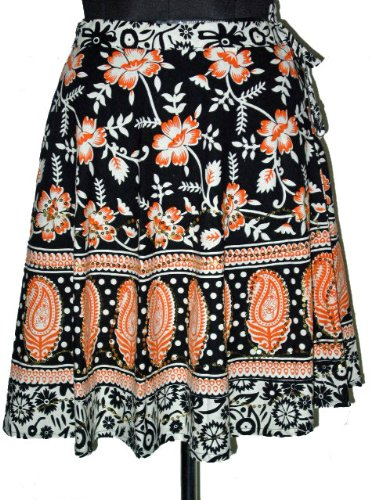 Designer Boho Tie Mini Skirts Cotton Black Sequin Floral paisley Motifs 21