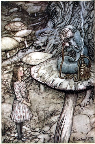 Clear Acrylic Fridge Magnet Kühlschrankmagnet Arthur Rackham Alice in Wonderland Advice from a Caterpillar