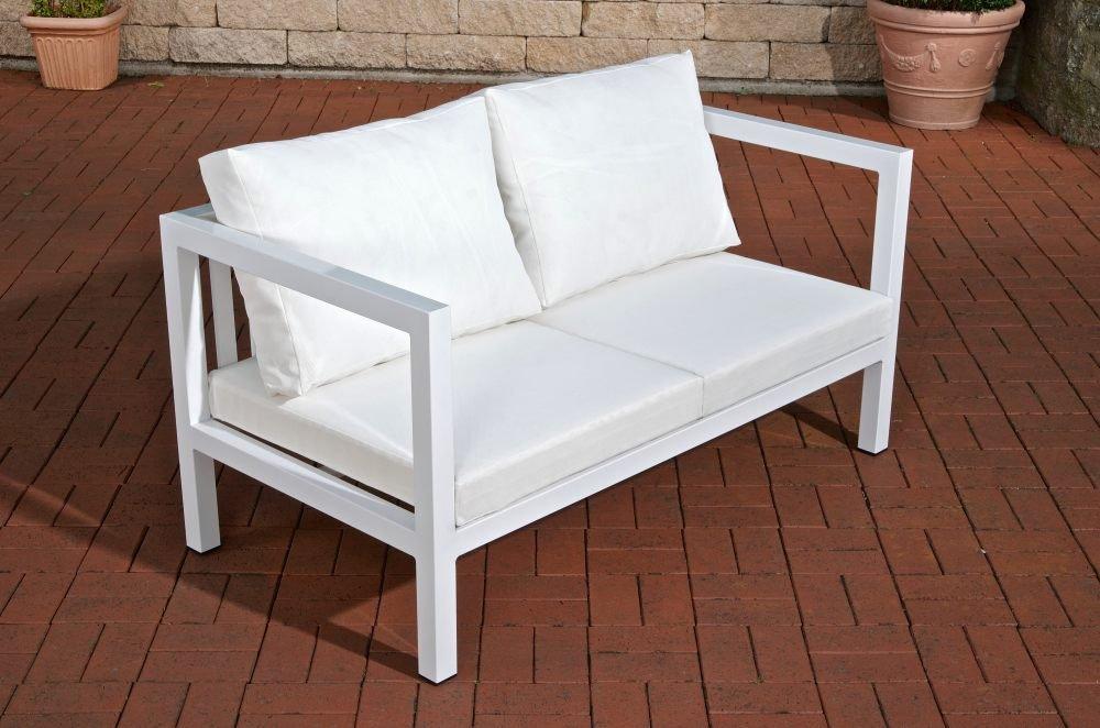 """CLP Outdoor Lounge 2-Sitzer Sofa VITUS aus Aluminium – das """"Sofa-Feeling"""" für Draußen – Größe: 140 x 75 cm, Sitzhöhe 29 cm weiß kaufen"""