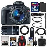 Canon EOS Rebel SL1 Digital SLR Camera & EF-S 18-55mm IS STM Lens (Black) with 75-300mm III & 500mm Lenses + 32GB Card + Backpack + Battery + Monopod + Kit