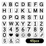 BAISDY 45pcs Alphabet Templates Letter Number Stencils for Painting on Wood Scrapbook Journal Canvas, 4 Inches