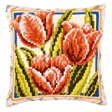 Vervaco Red Tulips Cross Stitch Cushion Multi Colour