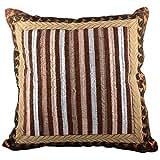 Aaiye Ghar Sajaiye Raw Silk Brown Black Off- White Cushion Cover (16 Inches X 16 Inches)
