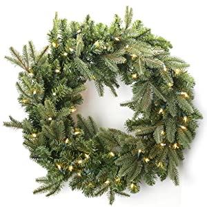 "36"" Asheville Frasier Fir Christmas Wreath, Clear Lights"