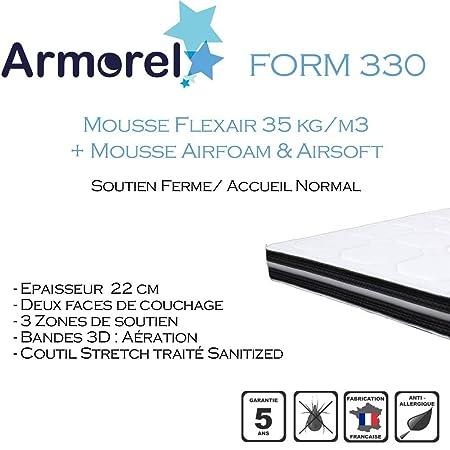 Armorel MAF33080/220 Form 330 Matelas Mousse Blanc 220 x 80 cm